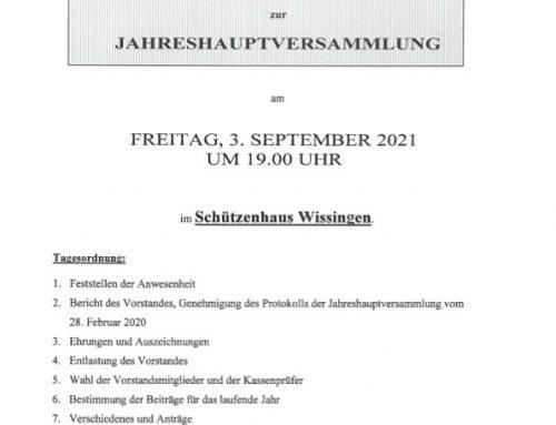 Einladung zur Jahreshauptversammlung am 03. September 2021